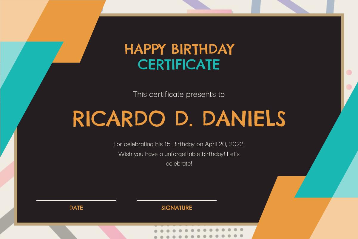 Certificate template: Orange And Blue Blackboard Birthday Celebration Certificate (Created by InfoART's Certificate maker)