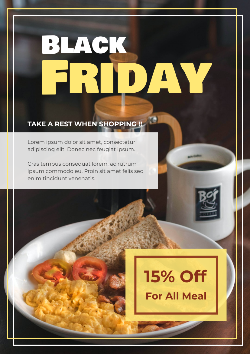 Flyer template: Black Friday Restaurant Discount Flyer (Created by InfoART's Flyer maker)