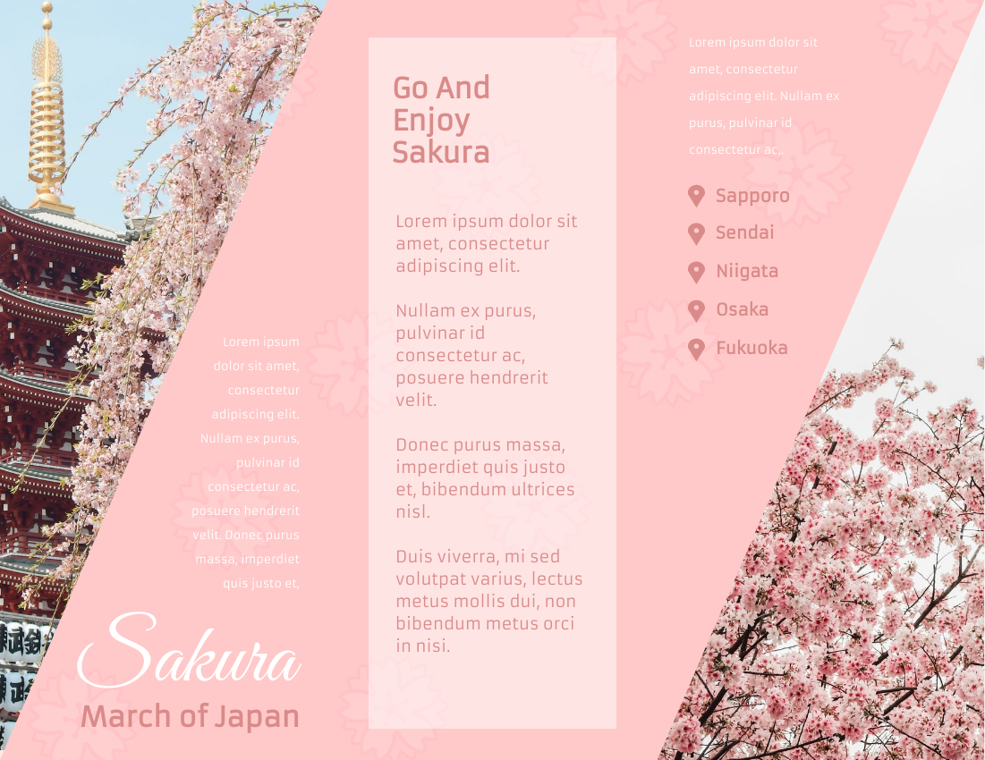 Brochure template: Japanese Cherry Blossom Tours Brochure (Created by InfoART's Brochure maker)