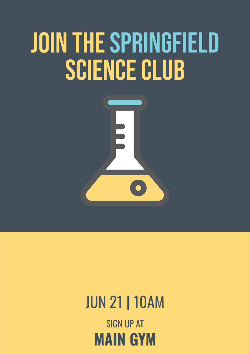 Poster template: Science Club Poster (Created by InfoART's Poster maker)