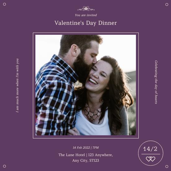 Invitation template: Purple Minimal Photo Square Valentines Dinner Invitation (Created by InfoART's Invitation maker)