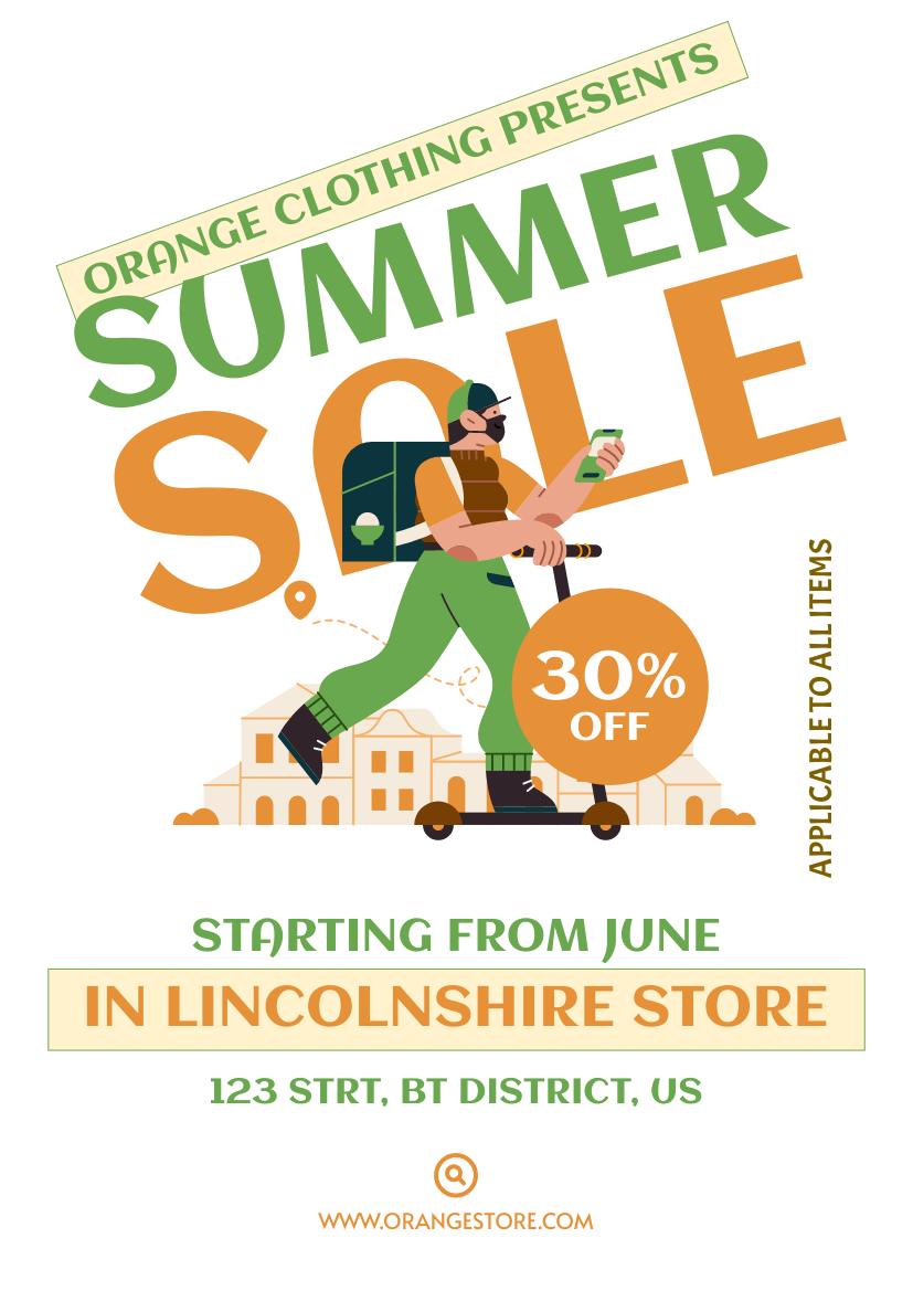 Flyer template: Orange Fashion Summer Sale Flyer (Created by InfoART's Flyer maker)