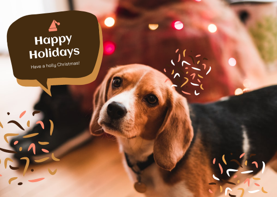 Postcard template: Brown Dog And Callout Christmas Postcard (Created by InfoART's Postcard maker)