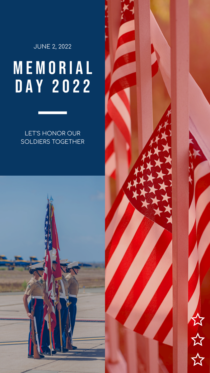 Instagram Story template: Red And Blue Soldier Photo Memorial Day Instagram Story (Created by InfoART's Instagram Story maker)