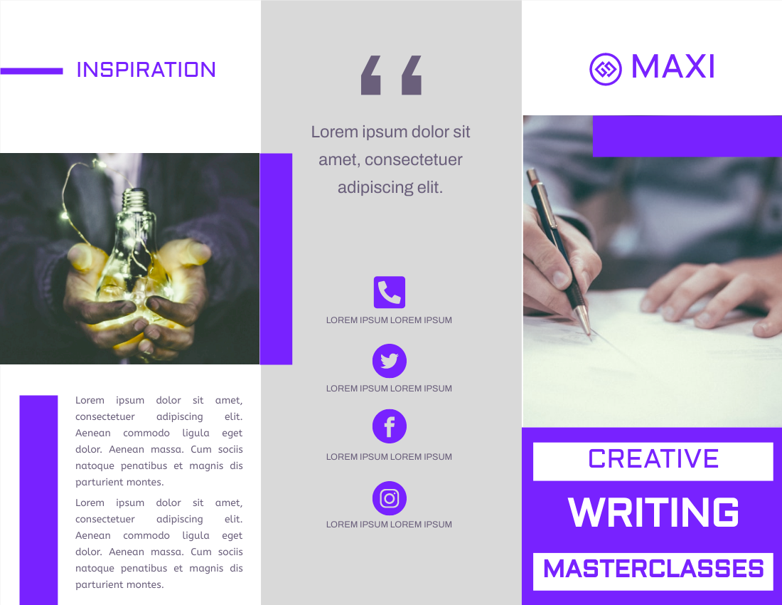 Brochure template: Creative Writing Masterclasses Brochure (Created by InfoART's Brochure maker)