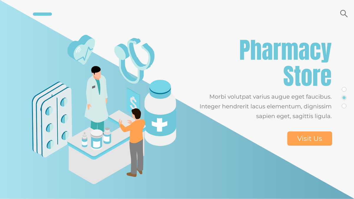Isometric Diagram template: Pharmacy Store (Created by InfoART's Isometric Diagram marker)