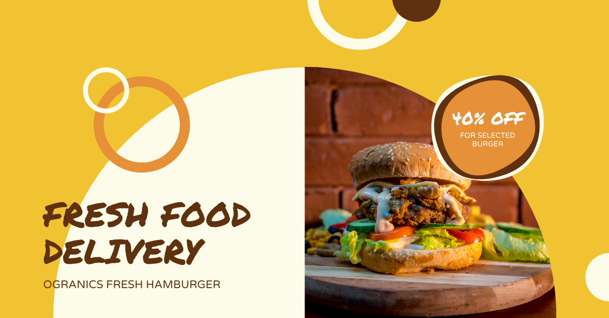 Facebook Ad template: Yellow And Brown Circular Hamburger Restaurant Facebook Ad (Created by InfoART's Facebook Ad maker)