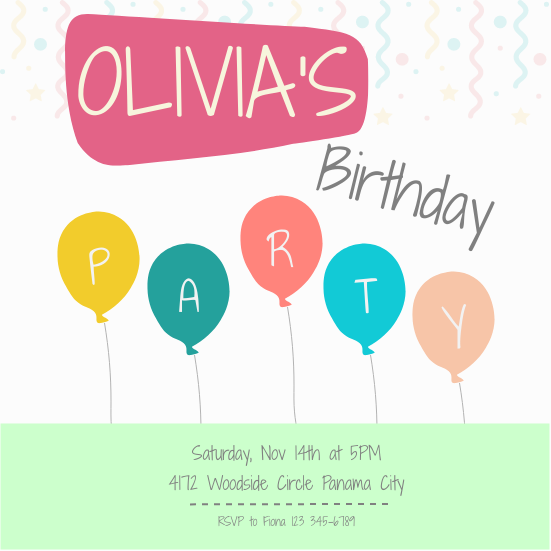 Invitation template: Birthday Invitation (Created by InfoART's Invitation marker)