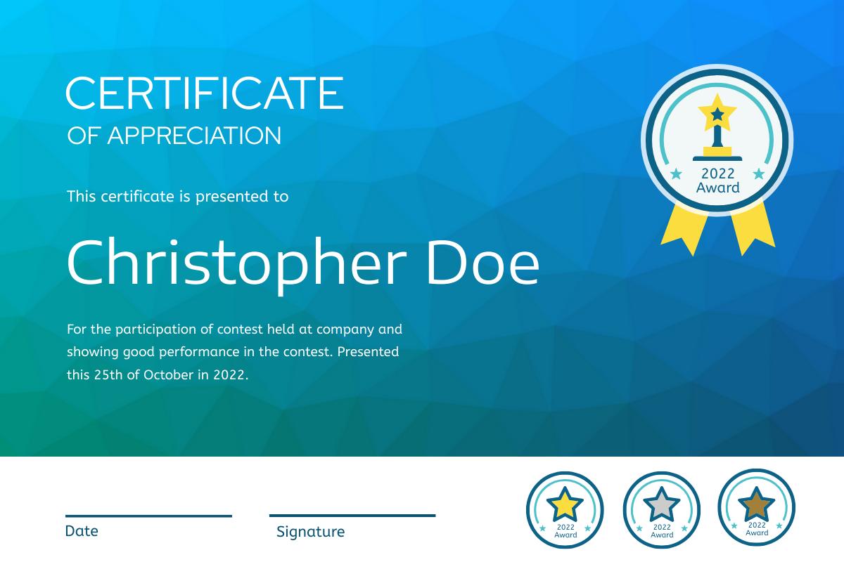 Certificate template: Modern Ocean Blue Gradient Certificate (Created by InfoART's Certificate maker)