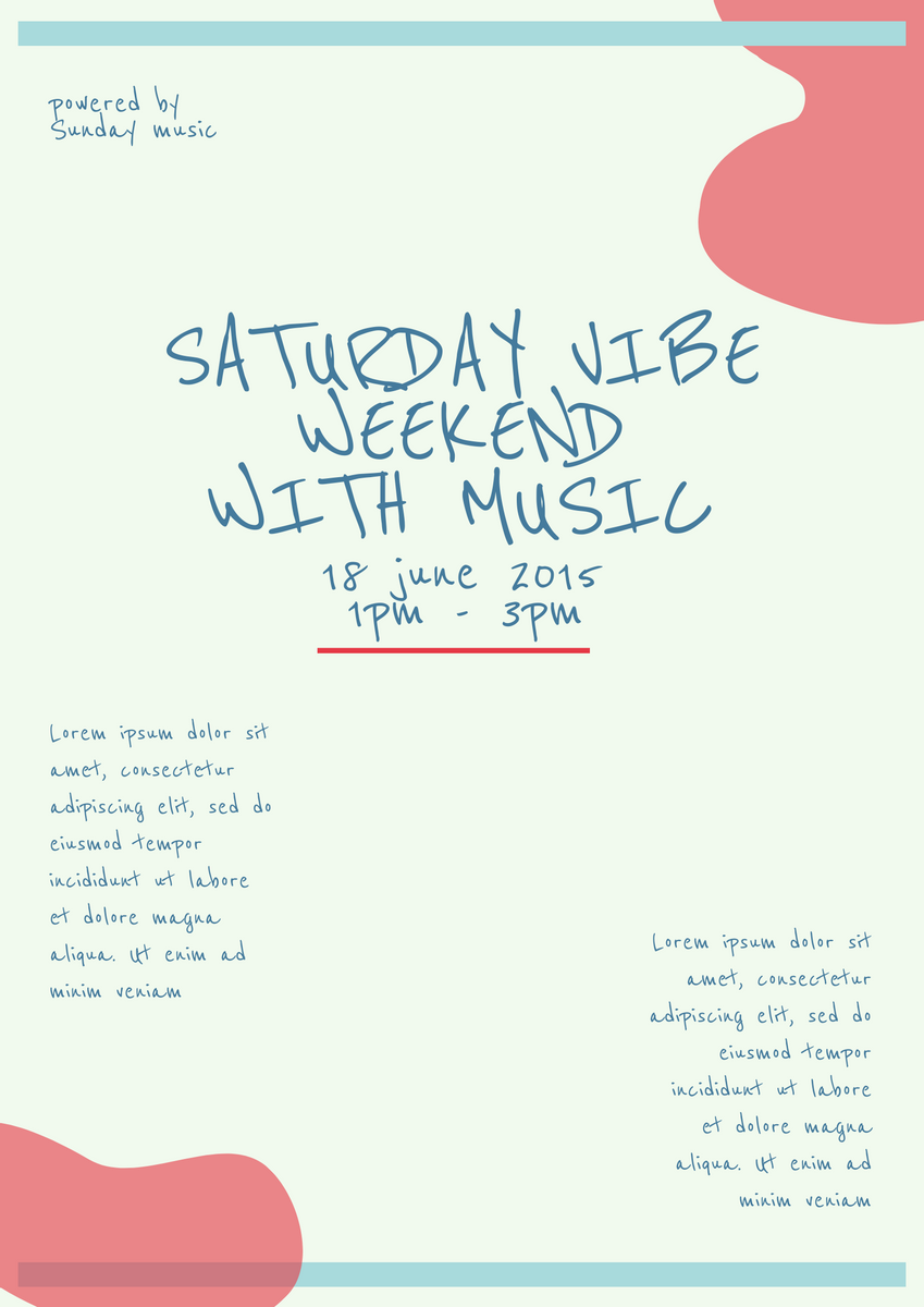 Poster template: Saturday Vibe Poster (Created by InfoART's Poster marker)