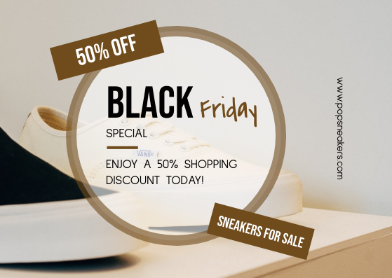 Gift Card template: Brown Circle Black Friday Sneakers Sale Gift Card (Created by InfoART's Gift Card maker)