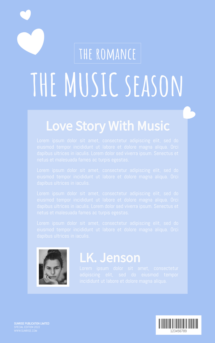 Book Cover template: Romance Musical Story Book Cover (Created by InfoART's Book Cover maker)