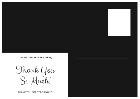 Postcard template: Black Photo Collage Teacher's Day Postcard (Created by InfoART's Postcard maker)