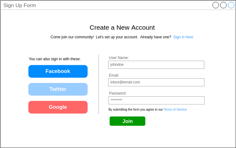 Mockups Wireframe template: Signup Form (Created by Diagrams's Mockups Wireframe maker)