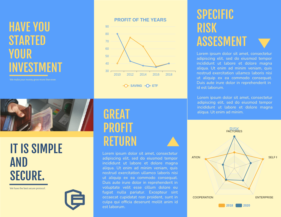 Brochure template: Benefits And Risks Of Investment Brochure (Created by InfoART's Brochure maker)