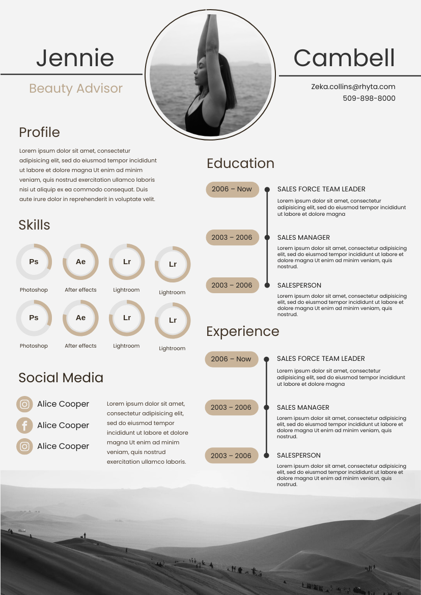 Resume template: Black and White Mount Resume (Created by InfoART's Resume maker)