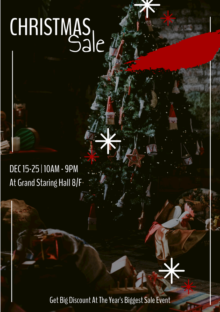 Poster template: Red And Black Christmas Sale Event Poster (Created by InfoART's Poster marker)