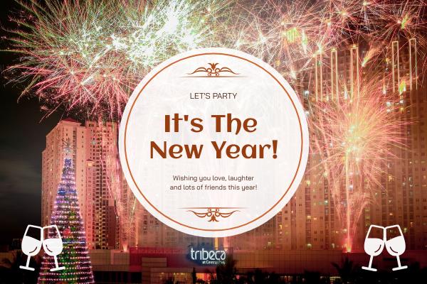 Greeting Card template: Orange Firework Circle New Year Greeting Card (Created by InfoART's Greeting Card maker)