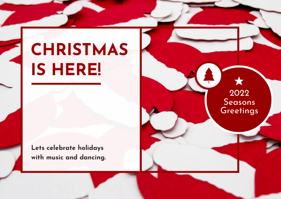 Postcard template: Red Christmas Hats Photo Postcard (Created by InfoART's Postcard maker)