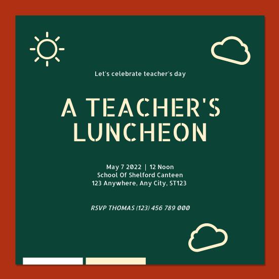 Invitation template: Red Chalkboard Teacher's Day Lunch Invitation (Created by InfoART's Invitation maker)