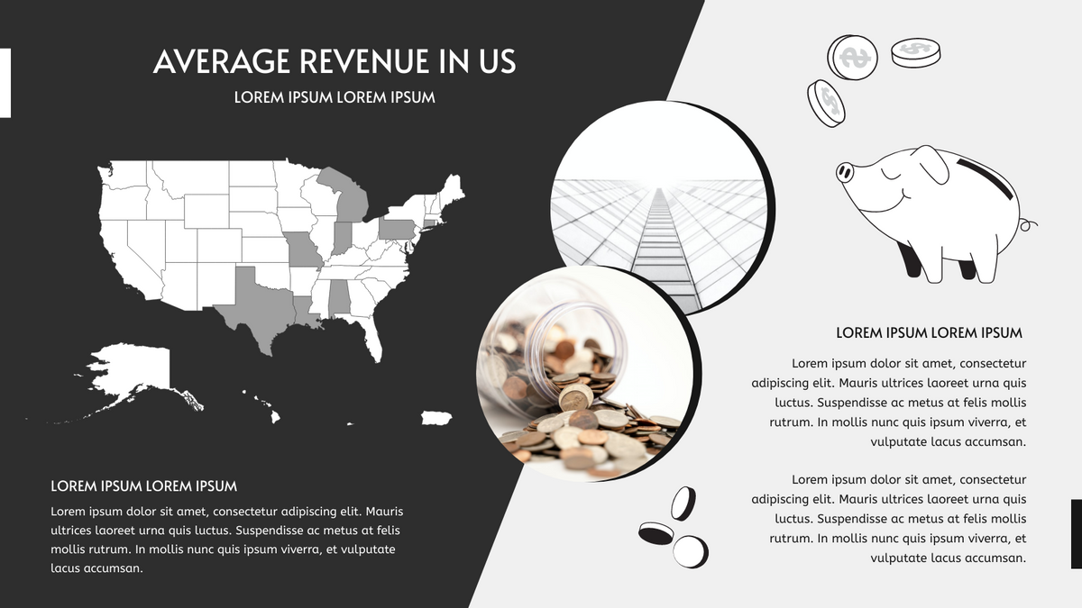 Geo Map template: Average Revenue In US Geo Map (Created by Chart's Geo Map maker)