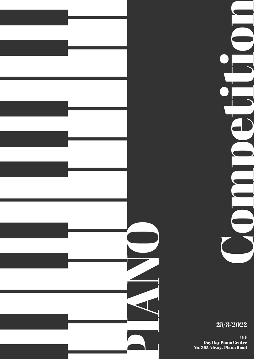 Poster template: Piano Competition Poster (Created by InfoART's Poster maker)