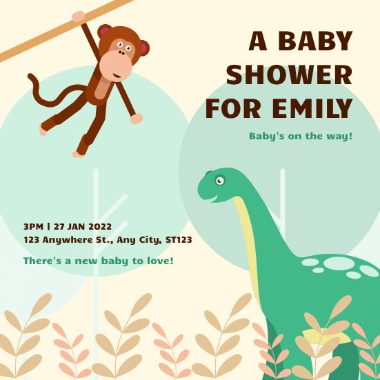 Invitation template: Animals Safari Cartoon Baby Shower Invitation (Created by InfoART's Invitation maker)