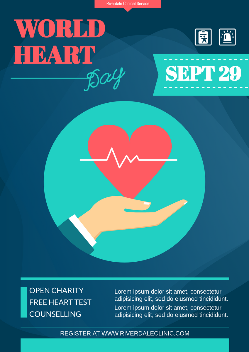 Poster template: World Heart Day Clinical Poster (Created by InfoART's Poster maker)