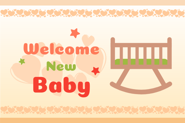 Greeting Card template: Welcome New Baby Greeting Card (Created by InfoART's Greeting Card marker)