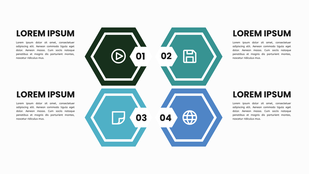 Four Quadrant Model template: Hexagonal Four Quadrant Model (Created by InfoART's Four Quadrant Model marker)
