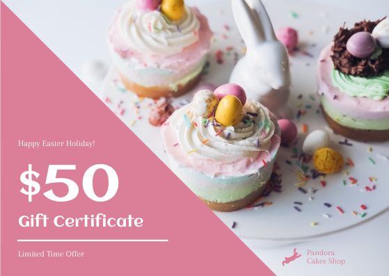 Gift Card template: Pink Easter Cakes Photo Cake Shop Gift Card (Created by InfoART's Gift Card maker)