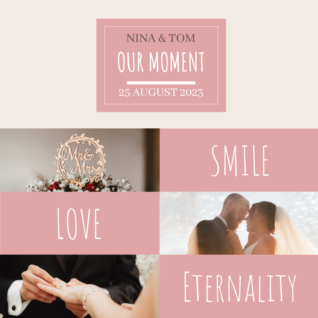 Instagram Post template: Pink Wedding Collage Instagram Post (Created by Collage's Instagram Post maker)