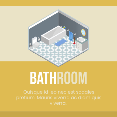 Isometric Diagram template: Small Bathroom (Created by InfoART's Isometric Diagram marker)