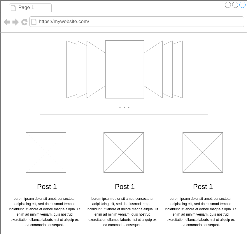 Homepage with slider (Mockups Wireframe Example)