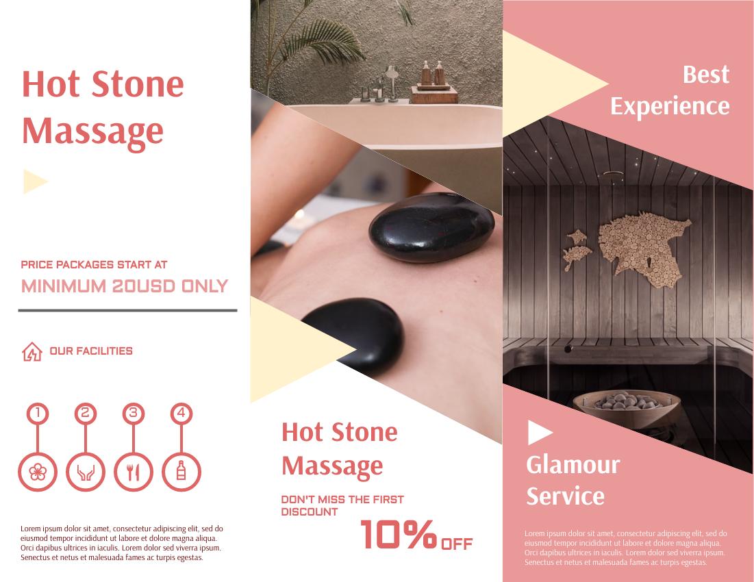 Brochure template: Hot Stone Spa Discount Brochure (Created by InfoART's Brochure maker)