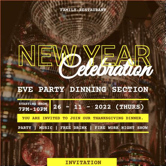 Invitation template: Neon Yellow New Year Dinner Invitation (Created by InfoART's Invitation maker)