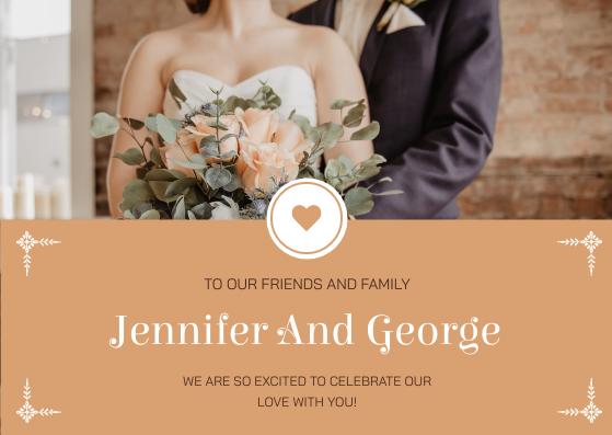 Postcard template: Orange Marriage Photo Celebration Postcard (Created by InfoART's Postcard maker)