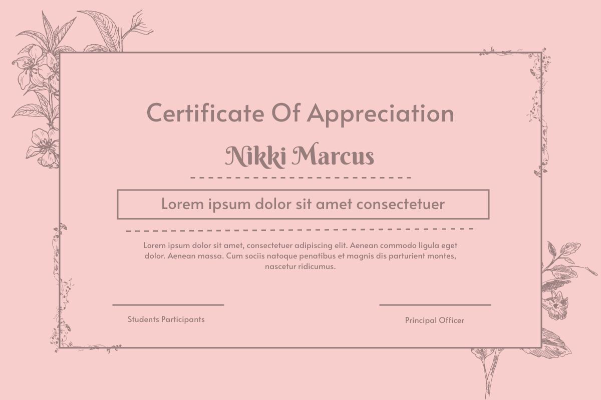 Vintage Floral Certificate