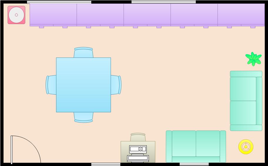 Dining Room Floor Plan template: Simple Dining Room  (Created by Diagrams's Dining Room Floor Plan maker)