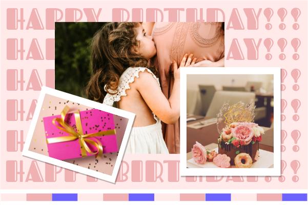 Greeting Card template: Pink Birthday Girl Greeting Card (Created by Collage's Greeting Card maker)