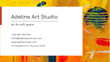 Business Card template: Orange Painting Brush Art Studio Business Card (Created by InfoART's Business Card maker)