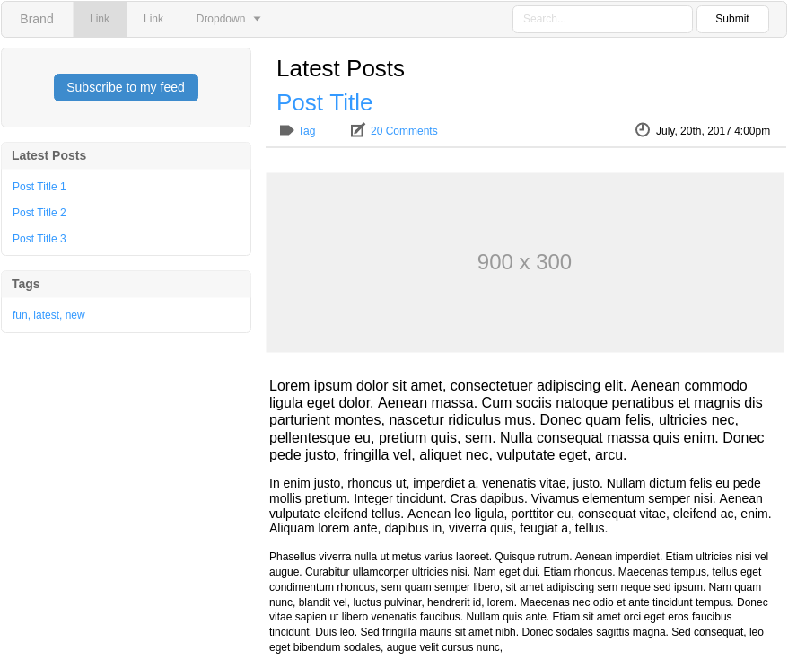 Latest Post (Bootstrap Wireframe Example)