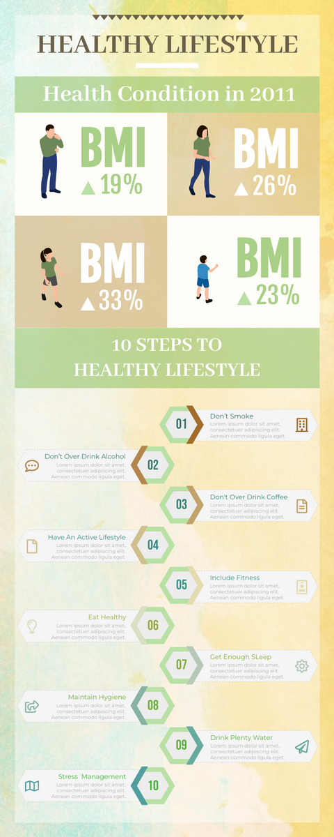 Infographic template: 10 Steps To A Healthy Lifestyle Infographic (Created by InfoART's Infographic maker)