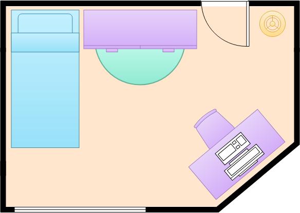 Bedroom Floor Plan template: Small Bedroom (Created by Diagrams's Bedroom Floor Plan maker)