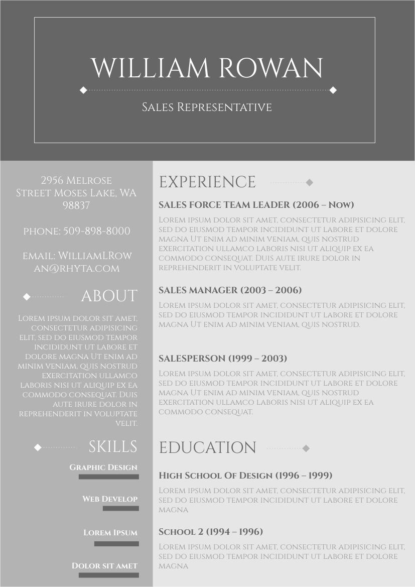 Resume template: Grey Resume 2 (Created by InfoART's Resume maker)