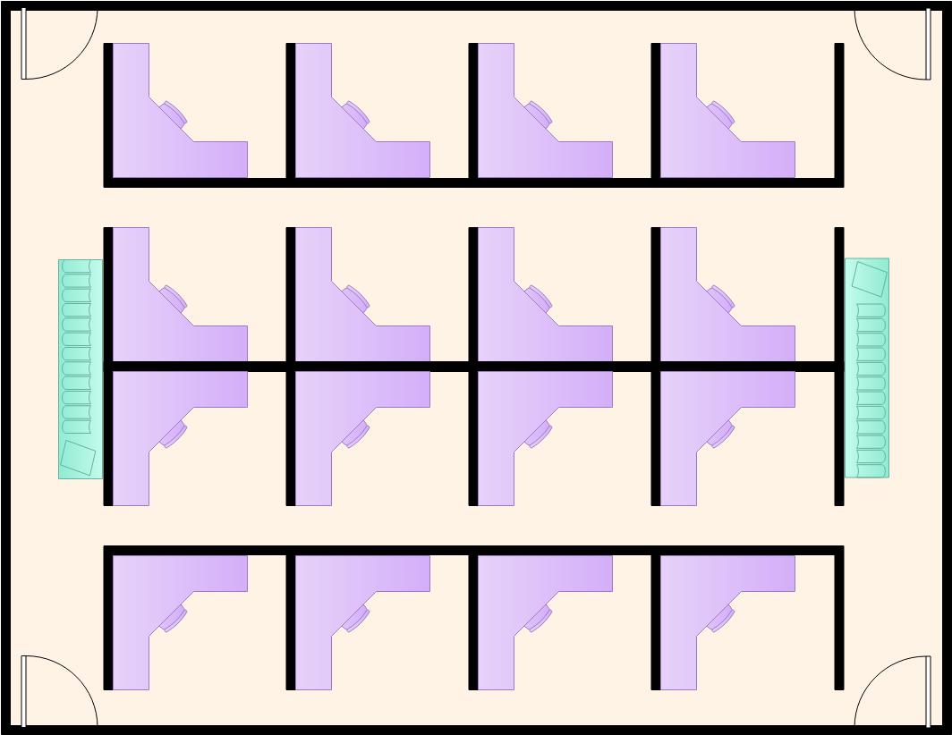 Office Cubicles Work Office Floor Plan Template