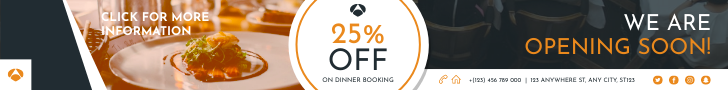 Banner Ad template: Restaurant Booking And Opening Banner Ad (Created by InfoART's Banner Ad maker)