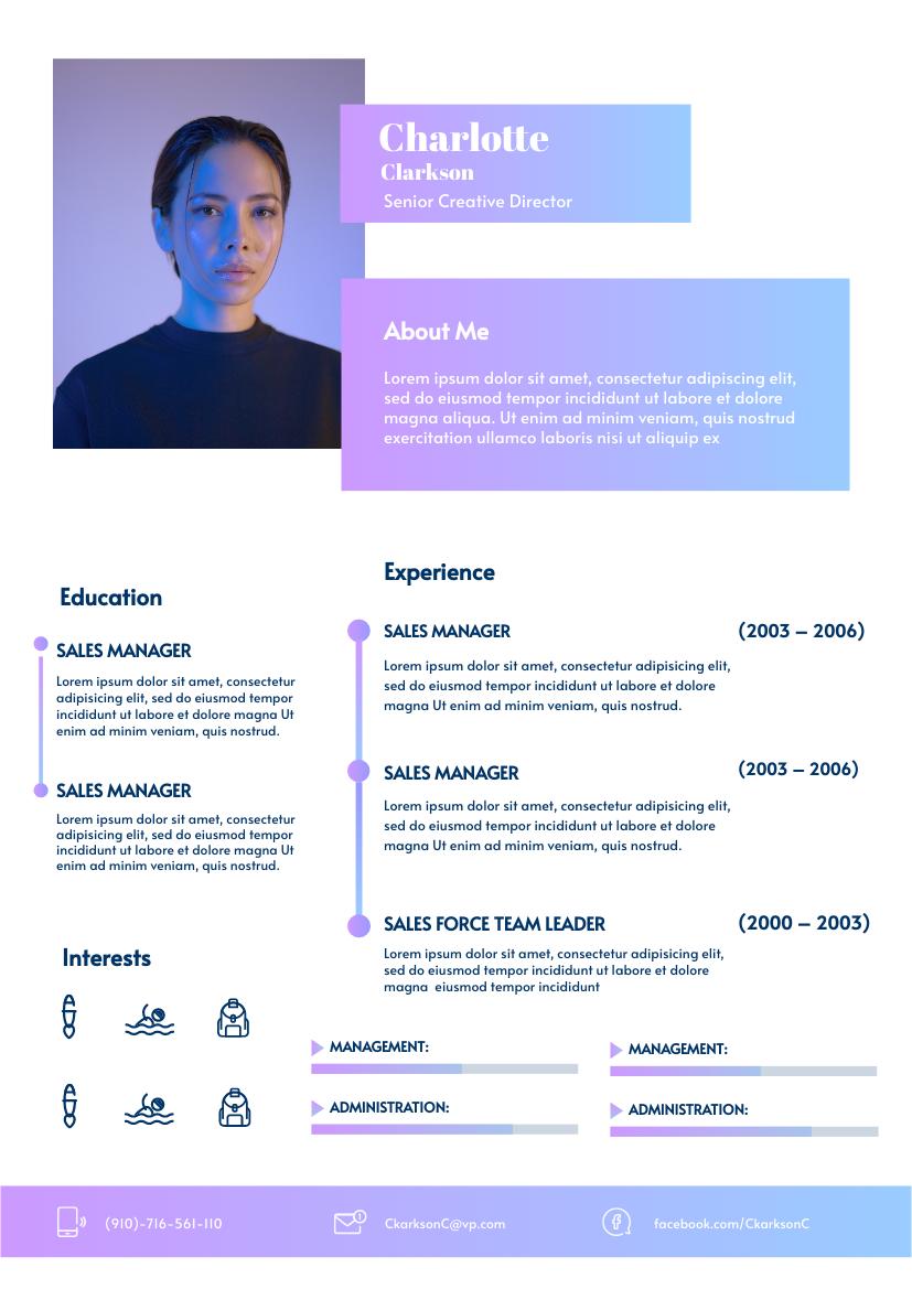 Resume template: Chetwode Blue Resume (Created by InfoART's Resume maker)