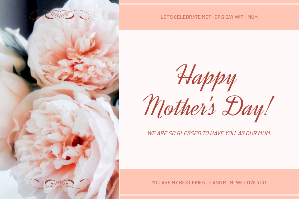 Greeting Card template: Simple Pink Floral Mother's Day Greeting Card (Created by InfoART's Greeting Card maker)