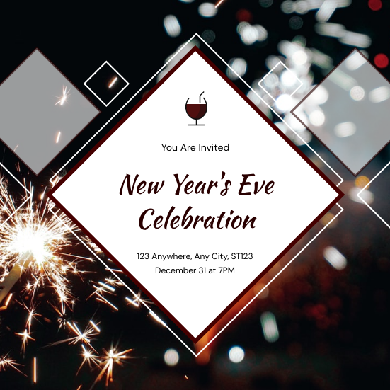Invitation template: Red Fireworks Photo New Year Eve Celebration Invitation (Created by InfoART's Invitation maker)